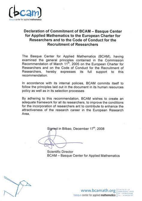 Commitment Declaration Letter ofertas de trabajo bcam basque center for applied