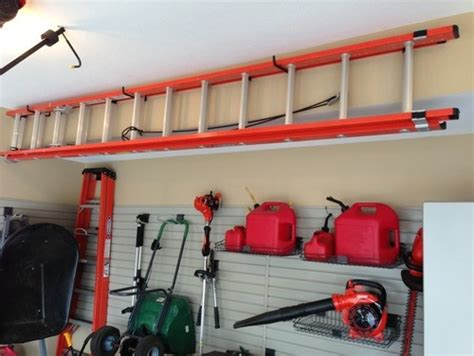 Ladder Storage In Garage by Ladder Storage Garage Shed Organization