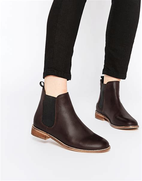 asos airbound leather chelsea ankle boots in purple lyst