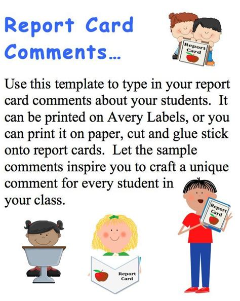 report card comments template report card comments labels with sle comments 40
