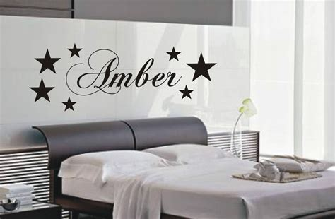bedroom wall art personalised star wall art sticker name style b kid bedroom wall stickers ebay