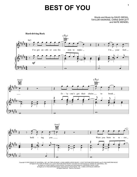 Best Of You Foo Fighters Chords Best Of You Sheet Direct