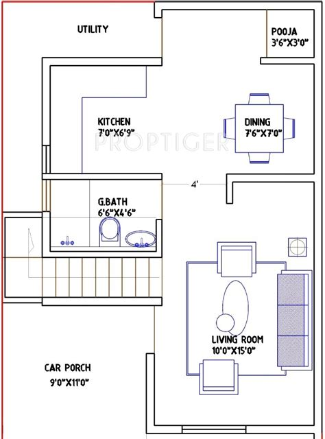 ground floor plan for 1000 sq feet 1000 sq ft 2 bhk 2t villa for sale in g9 spacious