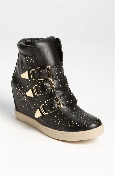 sneaker wedges steve madden steven by steve madden jeckle wedge sneaker in black