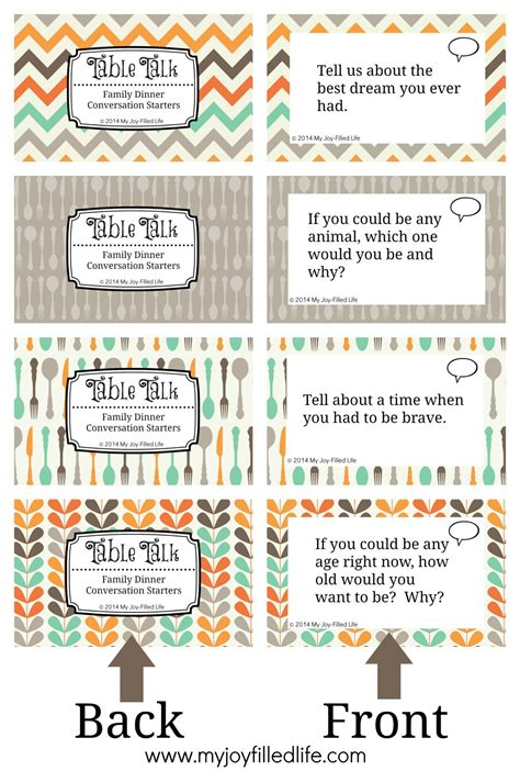 printable conversation cards template printable family dinner conversation starters cards my