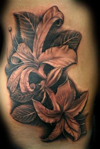 flower tattoo grey black and grey lilies tattoos