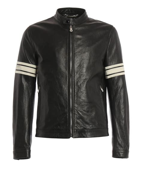 Sleeve Striped Jacket striped sleeves leather jacket by dolce gabbana