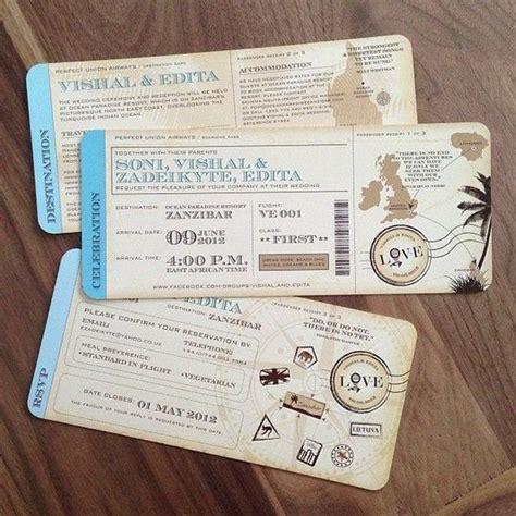 Vintage inspired Travel ticket Destination Wedding
