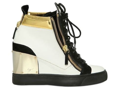 giuseppe zanotti womens sneakers giuseppe zanotti women s gold heel plate wedge sneakers