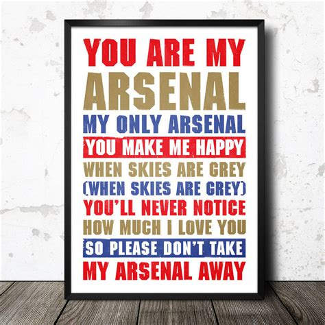 Arsenal Chants | arsenal football song lyrics chant poster by magik moments