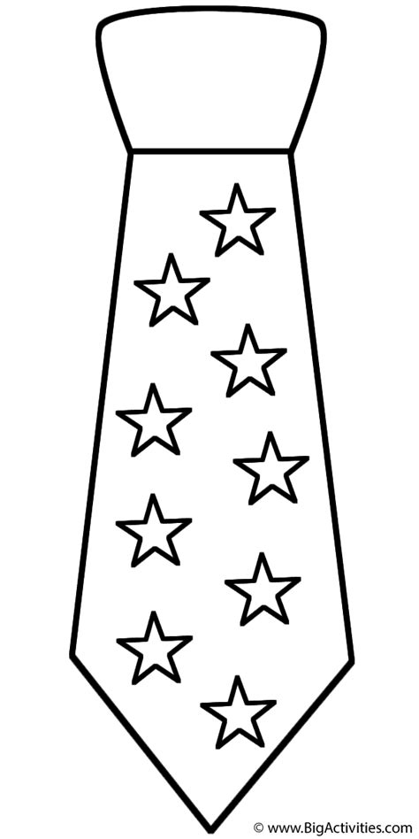 Neck Tie With Stars Coloring Page Father S Day Tie Coloring Page