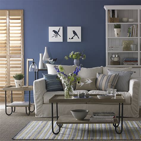 blue and cream living room decorating with blue ideal home