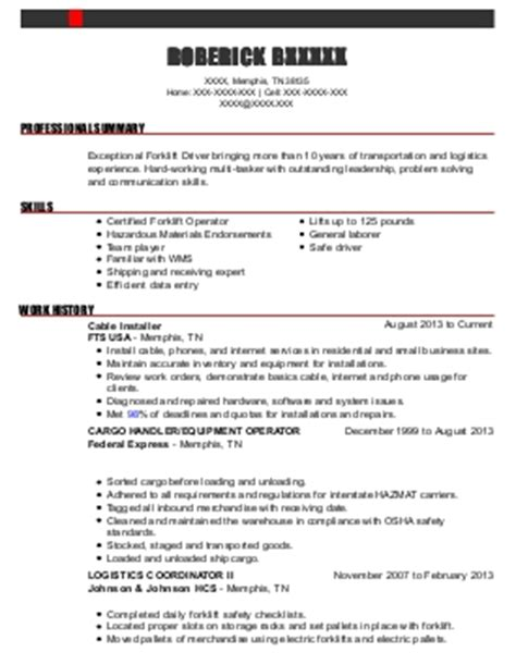 forklift driver resume exle great american appetizers na idaho
