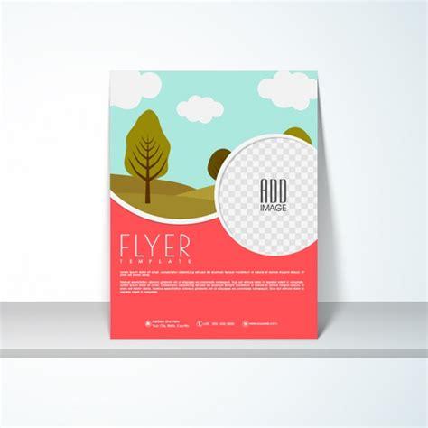 nature brochure template vector premium download flyer template with landscape in flat design vector