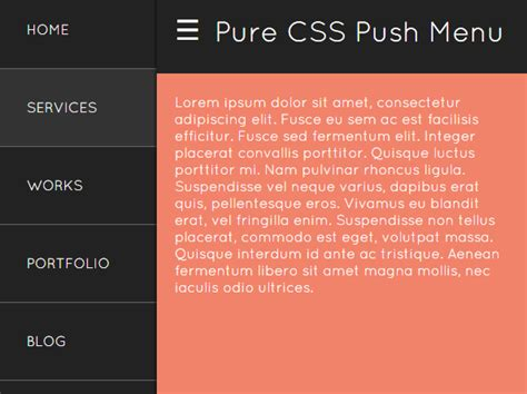 pure css off canvas sidebar navigation css script off canvas push menu in pure html css css script