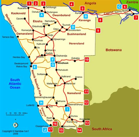 printable road map of namibia map of namibia border entry posts