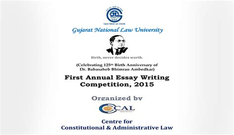 Essay Writing Competition 2015 by Gnlu Annual Essay Writing Competition 15