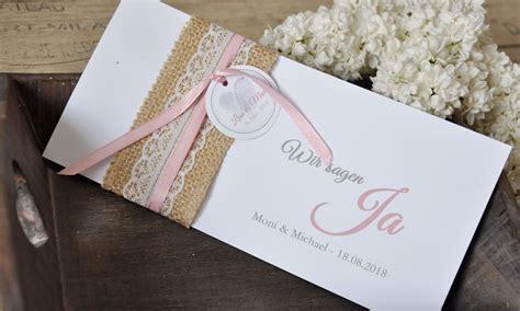 Hochzeit Einladung Spitze by Einladungskarten Hochzeit Vintage Quot Sackleinen Spitze Quot
