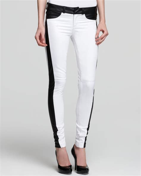 sold design lab denim sold design lab quotation jeans white skinny faux leather