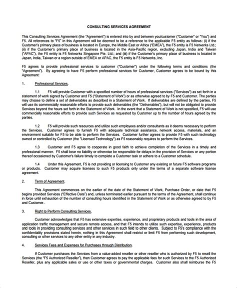 8 Business Consulting Agreement Templates Sle Templates Consulting Services Agreement Template