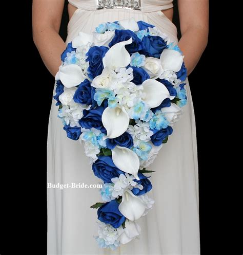 Blue Wedding Flowers Pictures by Royal Blue Wedding Flower Package Cascading Teardrop
