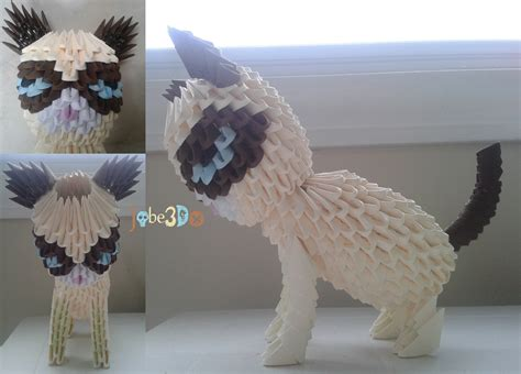 Origami 3d Cat - 3d origami grumpy cat by jobe3do on deviantart
