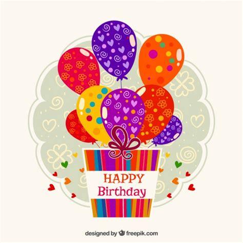 imagenes de happy birthday con globos etiqueta de cumplea 241 os con regalos y globos descargar