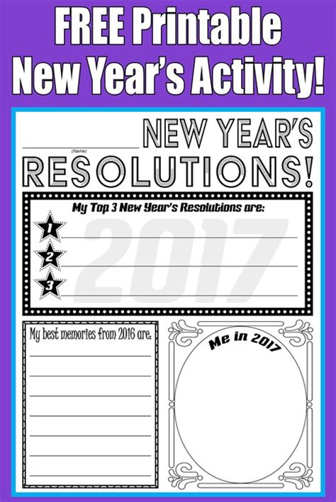 new year activities printable free printable 2017 new year s resolution activity