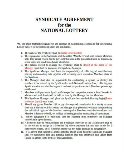 euromillions syndicate agreement template lottery syndicate agreement template word 28 images 5