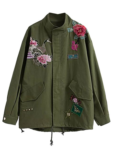 embroidery jacket army green embroidered detail studded parka jacket choies