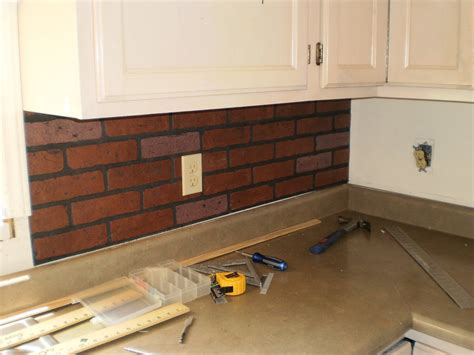 faux brick backsplash in kitchen one simple country project 2012 my home