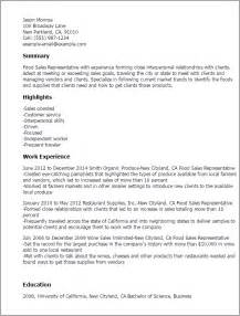 resume sles for sales representative professional food sales representative templates to
