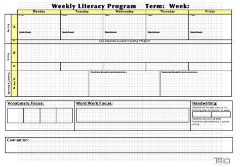 Block Plan Template Literacy Block Planning Template Trio Professional Learning