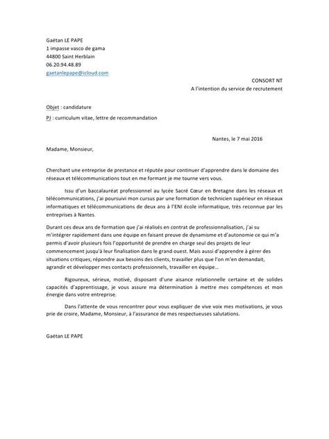 Lettre Recommandation Vendeur Lettre De Recommandation Objectif Document
