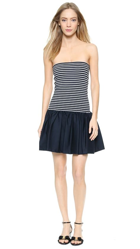 Pakaian Letty Hoodie Stripy White Navy Dress lyst valentino striped strapless mini dress navy white in blue