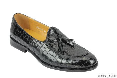 mens loafers black mens snakeskin print shiny real leather tassel loafers