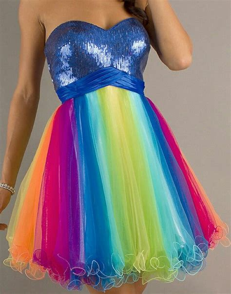 Dress Rainbow 1 rainbow prom dress so would wear this homecoming