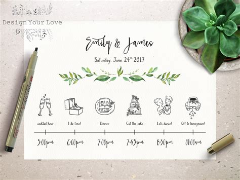Wedding Timeline by Wedding Timeline Printable Wedding Itinerary Template Green