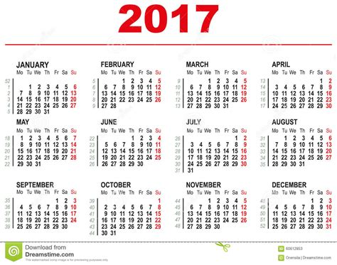 week numbered calendar 2017
