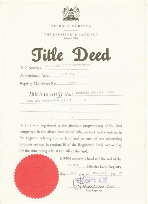 pin title deed on