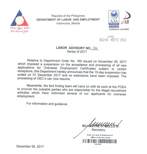 employment certification letter sle visa dole resumes processing of overseas employment