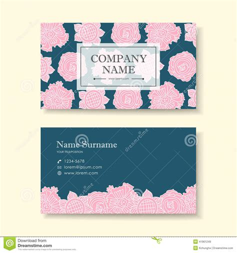Vector Business Card Design Template Of Pink Flower Stock Vector Image 41961249 Flower Business Card Template