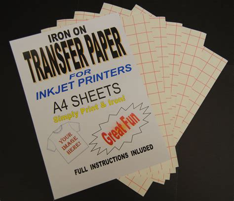 printable fabric transfer paper inkjet iron on t shirt transfer paper a4 10 sheets for