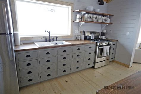 Diy Kitchens Cabinets with White Farmhouse Style Kitchen Island For Alaska Lake Cabin Diy Projects