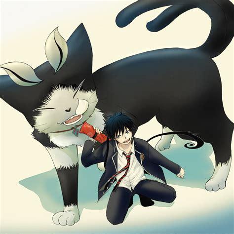 anime exorcist rin okumura and kuro from ao no exorcist ao no exorcist