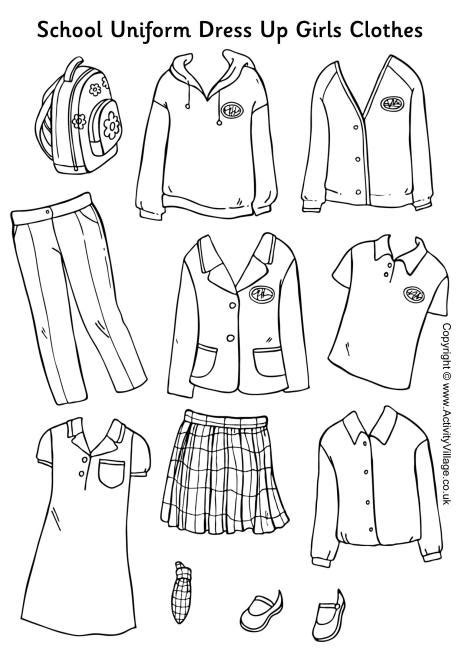coloring pages school uniform 9 best images of fall clothes worksheet printable paper