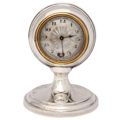 unusual art deco sterling silver quot ball quot shaped clock with