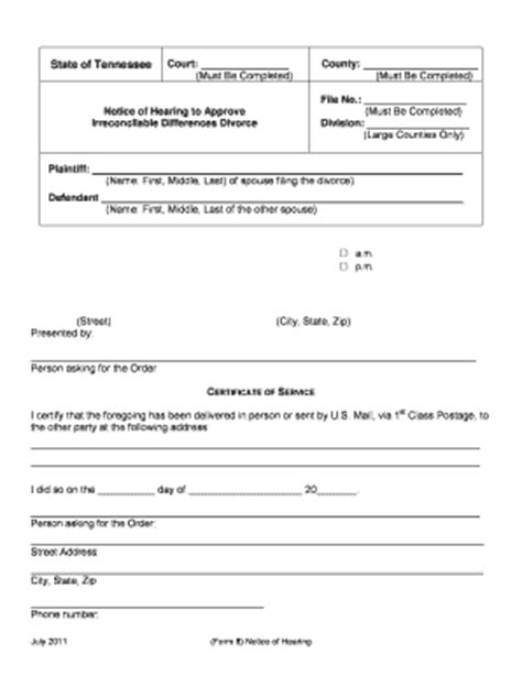 Divorce Records Davidson County Tn Fillable Divorce Papers For Tennessee Fill