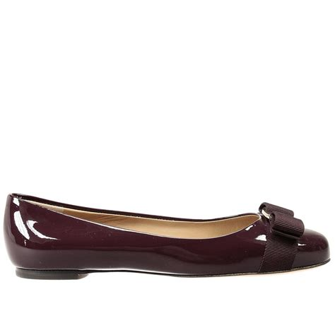 ferragamo flat shoes ferragamo flat shoes varina ballet patent in purple lyst