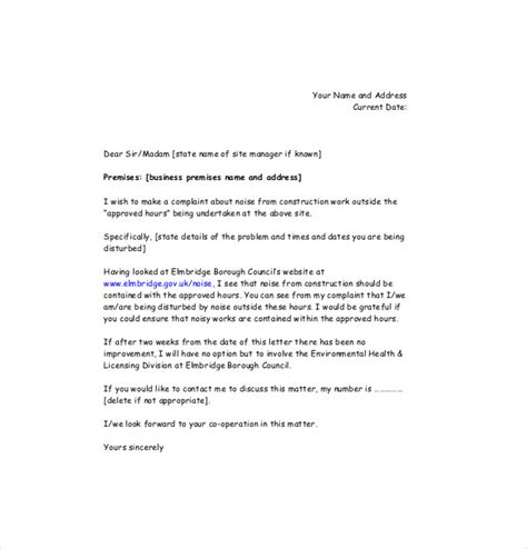 Petition Letter For Noisy Noise Complaint Letter Template 8 Free Word Pdf Documents Free Premium Templates